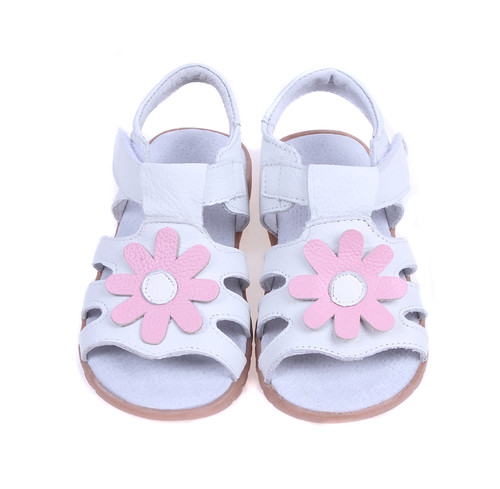 White Genuine Leather Sandal with Pink Flower.