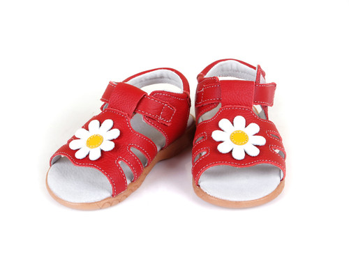Girls Red Genuine Leather Sandal with White Flower.
