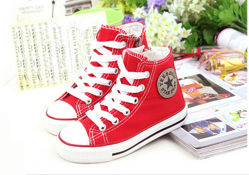 Red Converse style, canvas shoe.