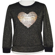 Girls black long sleeve shirt with gold sparkle and gold sequin heart.