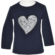 Baby Girl Navy Blue Long Sleeve Top with Silver Heart.