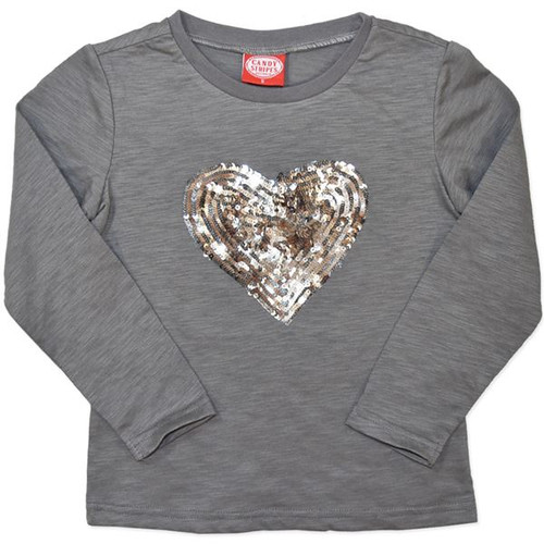 Girls grey long sleeve shirt with gold and silver sequin heart.