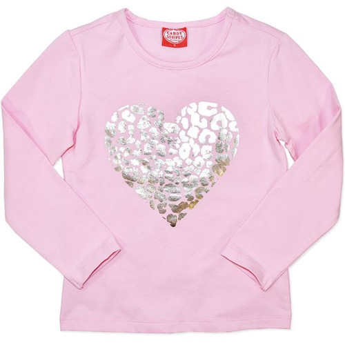 Baby Girls Pink Long Sleeve Tshirt with Gold Heart.
