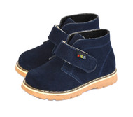 Dark Blue Suede Leather Shoes for Toddler Boys.