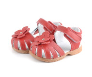 Toddler Girls Red Genuine Leather Sandal.