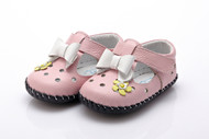 Baby Girl Pink Soft Soled Shoe with white bow.