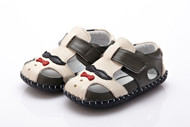 Baby Boy Dark Grey & Cream Soft Soled Shoe with moustache.