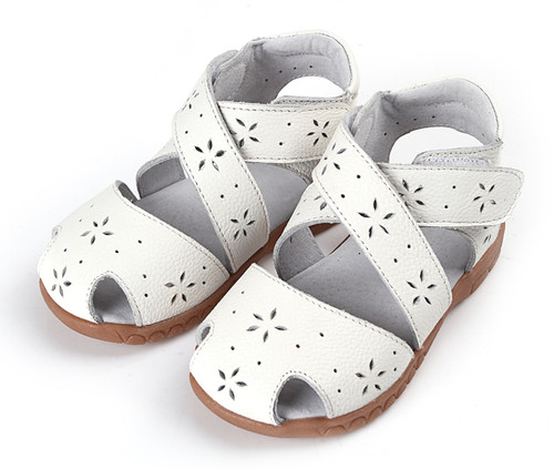 White 'Wrap Around' Genuine Leather Sandal.