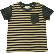 Boys Brown and Cream striped T Shirt.