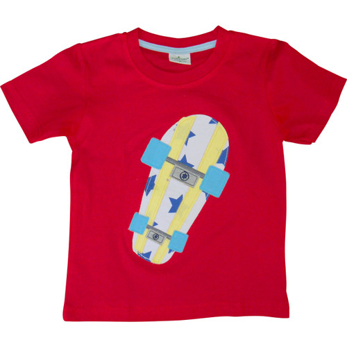 Boys Red Skateboard T-Shirt.