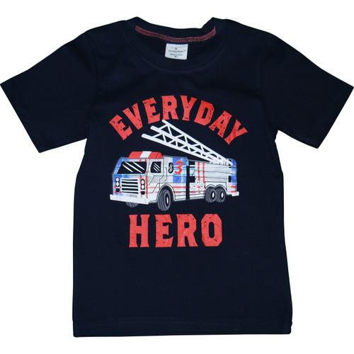 Boys Black Firetruck T-Shirt.