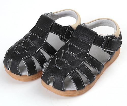 Boys Black Genuine Leather Sandal.
