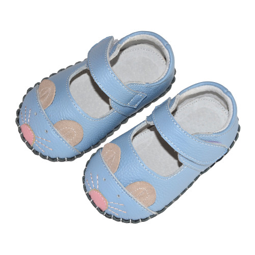 Sky Blue Mouse Baby Soft Sole Shoes