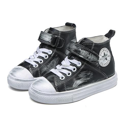 Black Leather Converse style shoe.