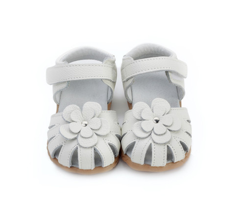 Girls White Genuine Leather Sandal - Ages 3 - 6 yrs old.