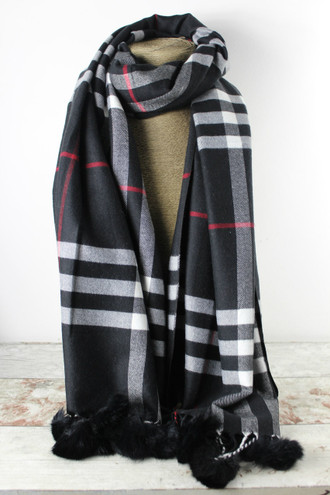 Black Tiffany Checked Cashmere Scarf