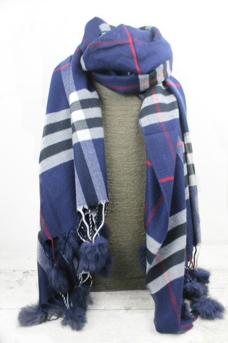 Navy Tiffany Checked Cashmere Scarf