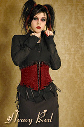 Heavy Red Red Brocade Bow Cincher