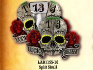 Lucky 13 Split Skull Belt Buckle