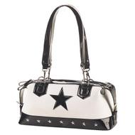 Demonia White Canvas Black Patent Star Shoulder Bag