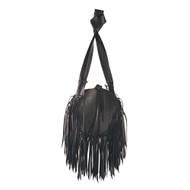 Demonia Black Rubber Fringed Shoulder Bag