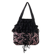 Demonia Pink Satin/Black Lace Overlay Handbag