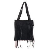 Demonia Black Satin/Black Rose Lace Overlay Handbag