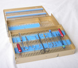 Microsurgical case, two level, with pin mat/retainers/long tray/half height accessory area