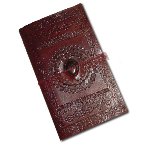 Large. leather-bound book.  The cover is made from brown leather, with decorative thonging and set with a polished stone.  The 60+ inside pages are thick, handmade, cream-coloured paper, with a parchment feel.  A useful addition to your kit, and perfectly suited to most historical settings.
