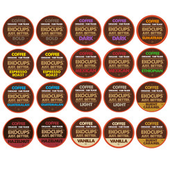20-count EKOCUPS Organic Coffee Single Serve Cups/K cup Variety Pack Sampler