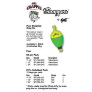 Betts Mr.Crappie Snappers Wgt 1.50' Pear 2ct Yellow/Green