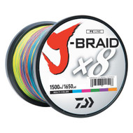 J-Braid Braided Line, 120 lbs Tested, 1650 Yards/1500m Filler Spool, Multi Color
