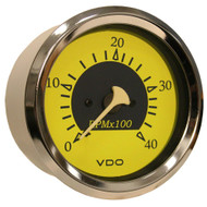 VDO Allentare Yellow/Blue 4000RPM 3-3/8 (85mm) Diesel Tachometer (Alternator) - 12V
