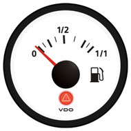 VDO Viewline Ivory 0-1/1 Fuel Gauge 12/24V - Use with 3-180 Ohm Sender