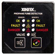 Xintex Propane Fume Detector & Alarm w/2 Plastic Sensors & Solenoid Valve - Square Black Bezel Display