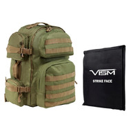 "Tactical Backpack with 10"" x 12"" Square Panels - Green with Tan Trim"