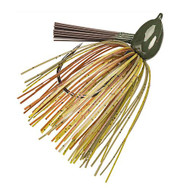 Hack Attack Fluoro Flipping Jig - 5/0 Hook, 1/2 oz, Green Pumpkin Craw, Per 1