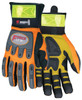 """Memphis HV100 - """"ForceFlex"""" Hi Vis, Clarino Synthetic Leather, Rough Kevlar Palm Pad, Orange Mesh Fabric, Reflective Material Cuff Glove (1 Pair)"""