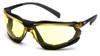 Pyramex SB9330ST Proximity Safety Glasses Black Frame with Amber H2X Anti-Fog Lens (12 Pair)