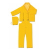 MCR Safety 2403 3 Piece Yellow Rain Suit Jacket w/ Detachable Hood and Bibpants, Size 4XL (1 Each)