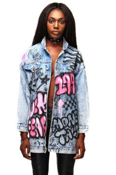'FUCK FEAR' TAGGED LONG DENIM JACKET (1-OF-1)