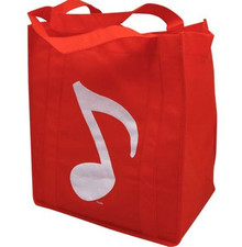 Grocery Tote Music Note Red