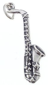 Charm Sterling Silver Saxophone