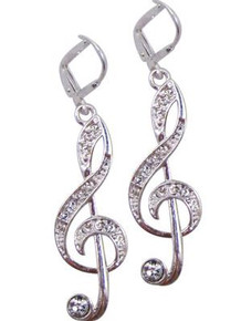 Earring Crystal G-Clef Silver