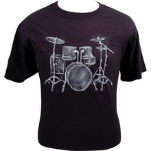 T-Shirt Emb Drum Set Black White- Medium, Large, XLarge