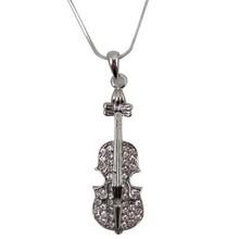 Necklace Violin W/Rhinestones