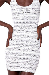 Summer Mini White Sleeveless Music Score Dress-One Size