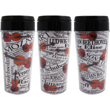 Travel Tumbler 16oz Sheet Music W/Violins Collage