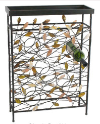 Blowing Leaves Metal Wine Rack with table top