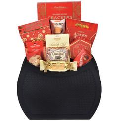 Gourmet magazine holder gift basket